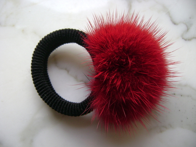 "Hairscrunchy with mink ball "" bordeaux red """