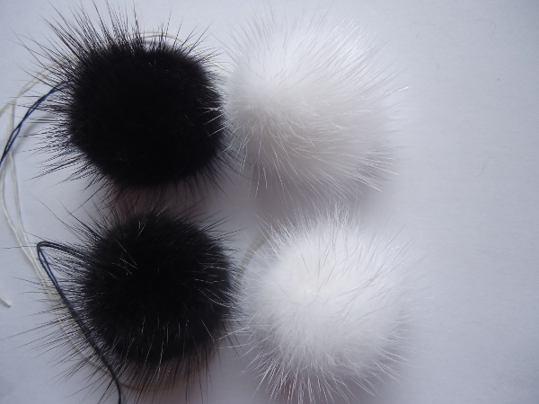 "4 mink  pompoms / mink beads "" black & white"""