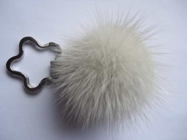 "Mink Furball pendant with keyring "" grey """