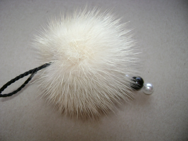 "Mink Key Chain made of real mink with pearls "" cream coloured """