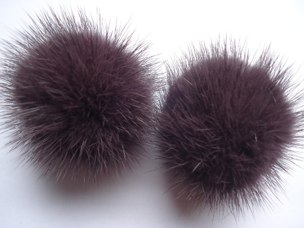 "2 mink  pompoms / mink beads for shoes / shoelaces "" aubergine"""