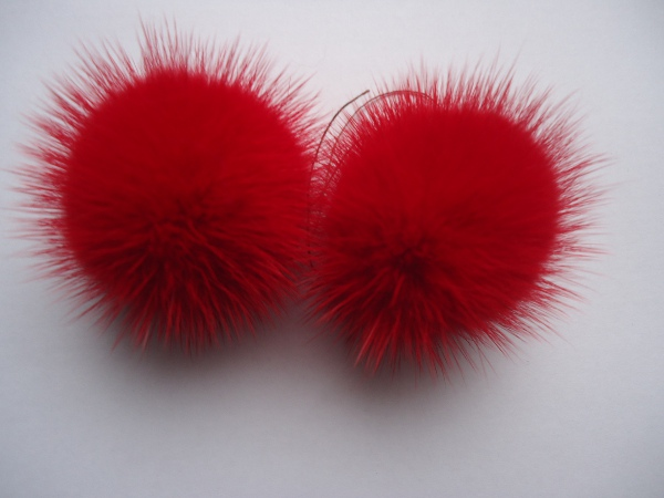 "2 mink  pompoms / mink beads for shoes / shoelaces "" red """