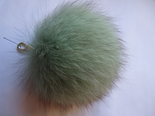 "XXL Furball pendant genuine fox for bags or keys "" mint """