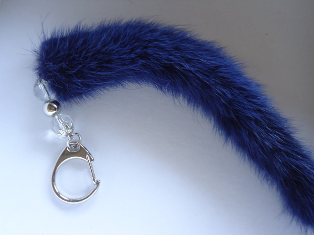 "Minktail pendant  "" Royal blue """