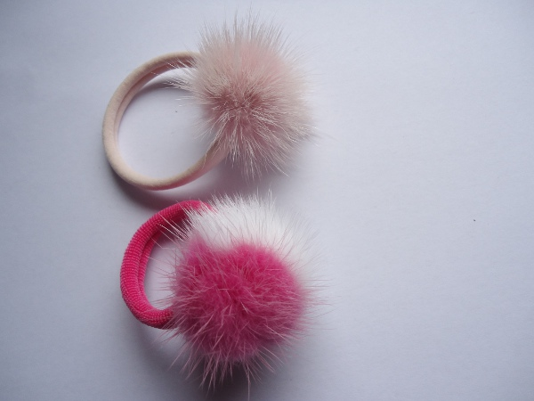2x Hair elastic with mink ball