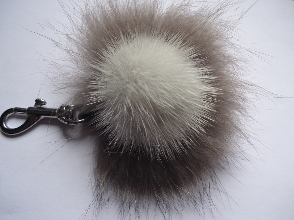 Mink Furball pendant with silverfox