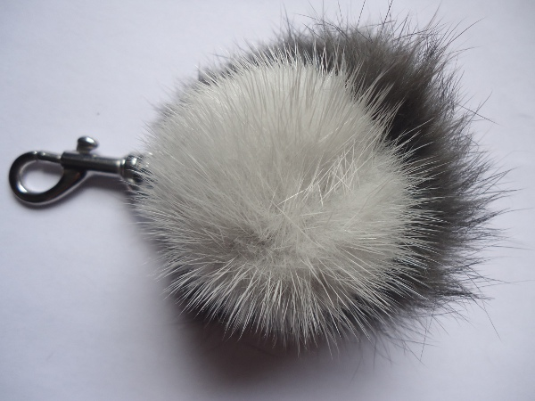 "Mink Furball pendant with rabbit  "" grey coloured """