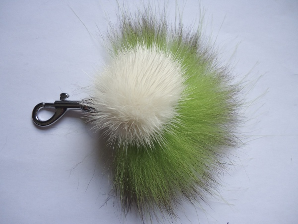Mink Furball pendant with kiwigreen possum