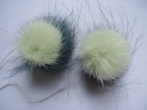 "2 mink pompoms / mink beads & possum "" mint & darkgreen """
