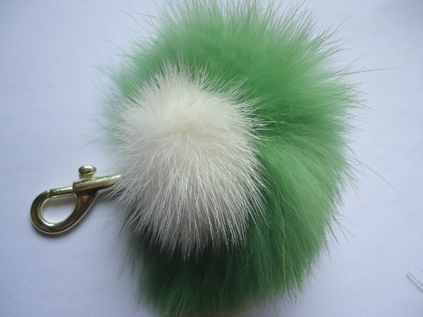 Mink Furball pendant with green rabbit