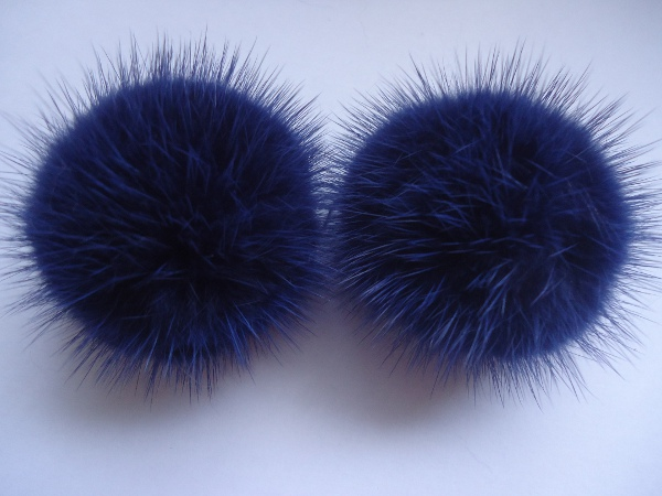 "2 mink  pompoms / mink beads for shoes / shoelaces "" royalblue """