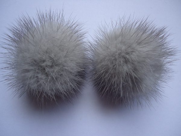 "2 mink  pompoms / mink beads for shoes / shoelaces "" taupe grey"