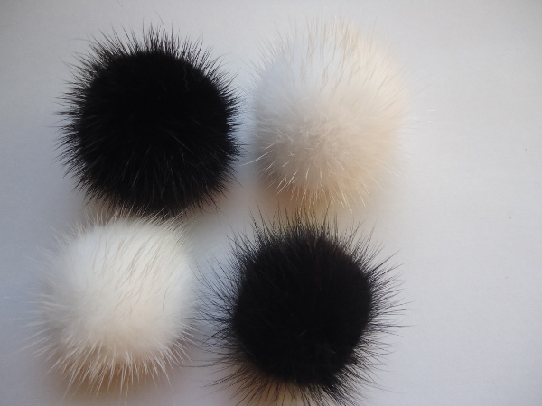 "4 mink  pompoms / mink beads for shoes / shoelaces "" black & whi"