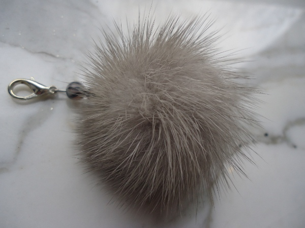 "Charm Pendant with mink pompon ""  grey """