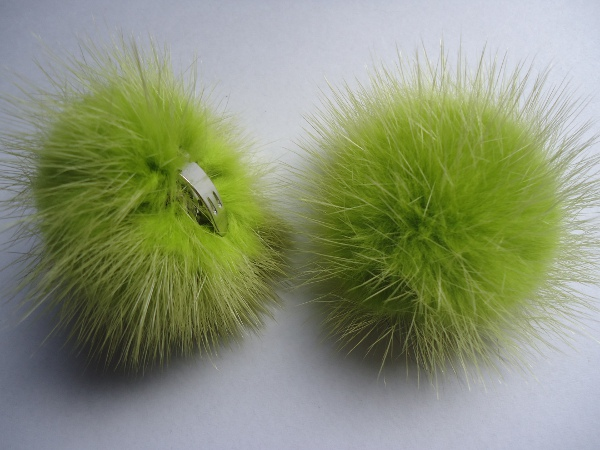 "2 clips with mink pompom for shoes, caps, scarfs "" seagreen """