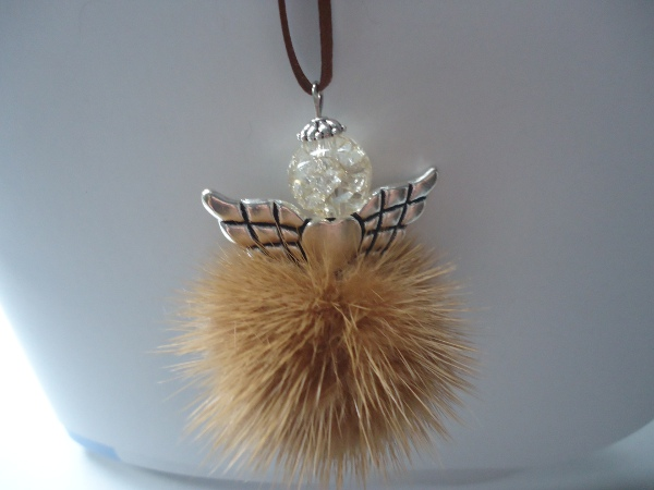 "Mink angel / angel with minkbobble /  Mink angel pendant "" caram"