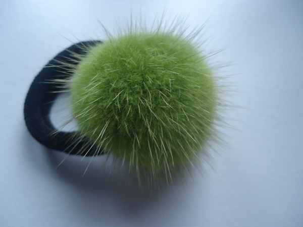 "Hair elastic with mink ball "" kiwi """
