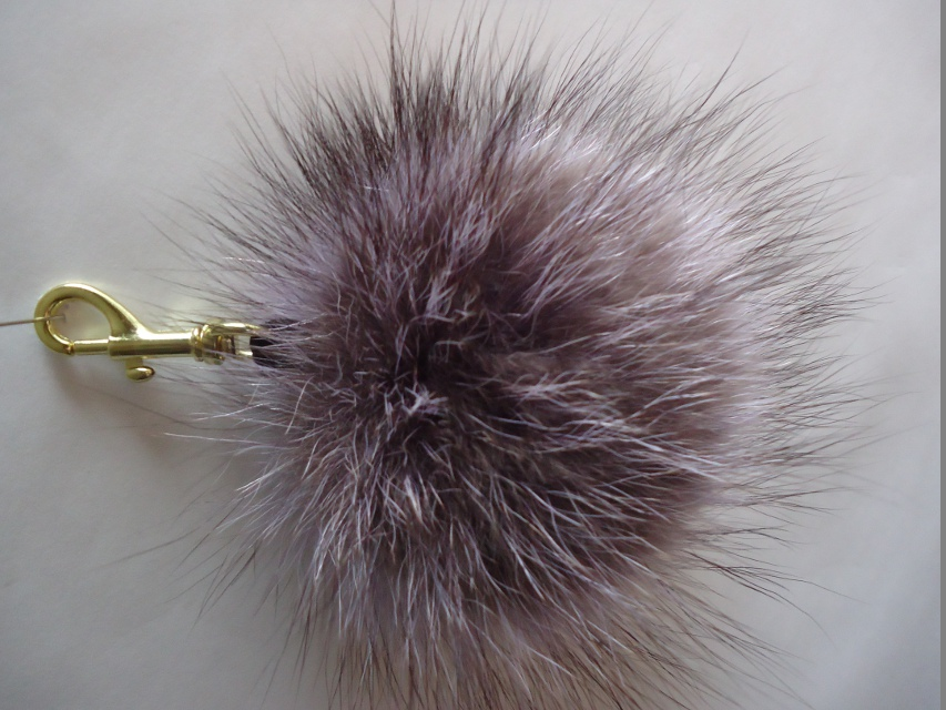 "XL Furball pendant genuine fur for bags or keys ""Raccoon"""