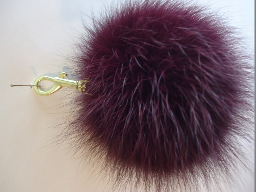 "XXL Furball pendant genuine fur for bags or keys "" berry"""