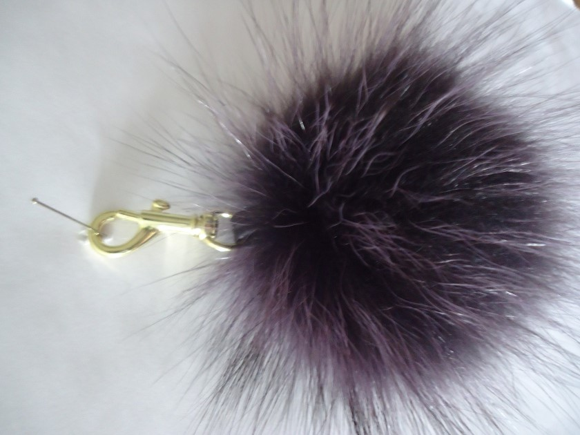 "Furball pendant genuine Raccoon for bags or keys "" lilac """