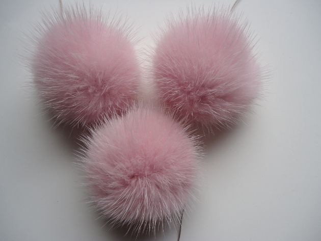 "3 mink  pompoms / mink beads "" rose  """