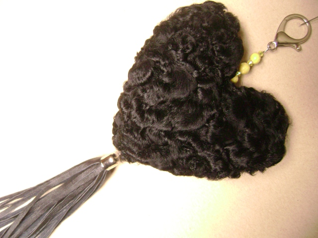 "Bag pendant with with Persian lamb heart and leather tassel "" si"