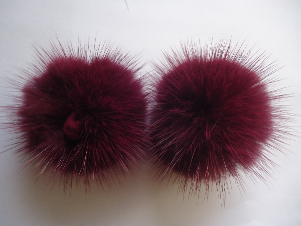 "2 mink  pompoms / mink beads for shoes / shoelaces "" berry """