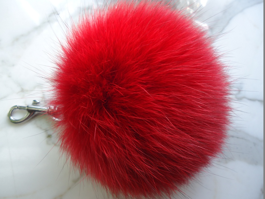 "XXL Furball pendant genuine fur for bags or keys "" red """