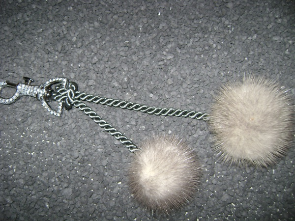 "Bag pendant with  2 mink pompons ""grey"""