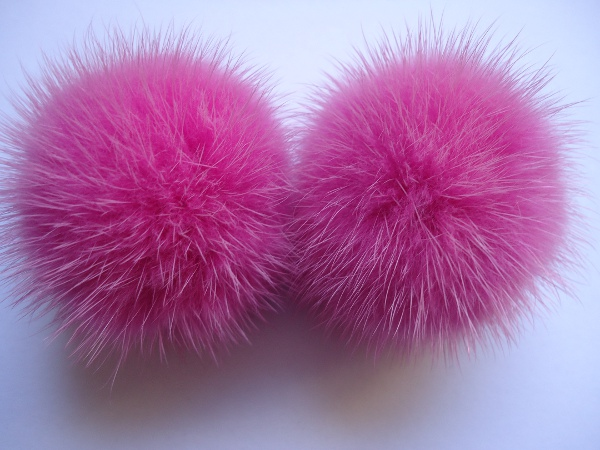 "2 mink  pompoms / mink beads for shoes / shoelaces "" rosapink 5,"