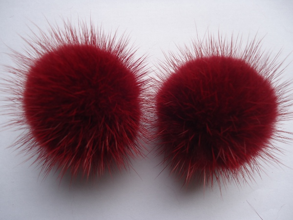 "2 mink  pompoms / mink beads for shoes / shoelaces "" bordeaux """