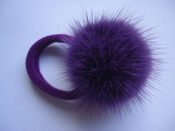 "Hairscrunchy with mink ball "" purple"""