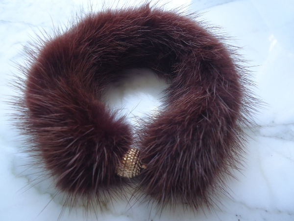 "Mink bracelet made ​​of real mink "" marsala brown """