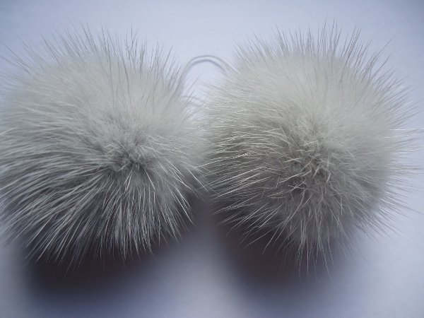 "2 mink  pompoms / mink beads for shoes / shoelaces "" arctic grey"