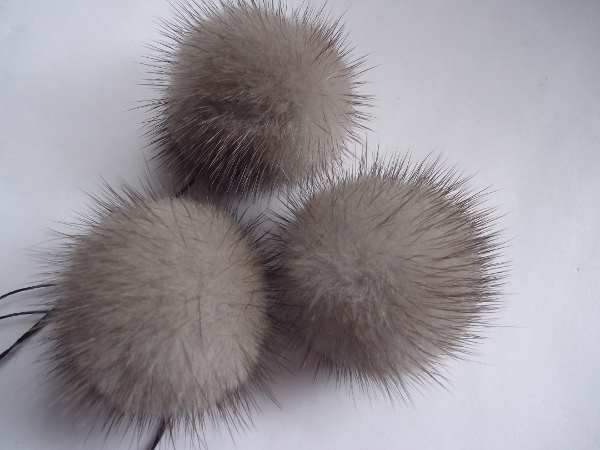 "3 mink  pompoms / mink beads "" taupe with dark tips """