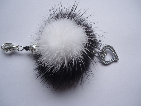 Charm Pendant with mink pompon black & white / Rhinestone heart