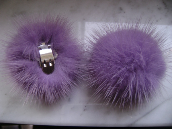 "2 clips with mink pompom for shoes, caps, scarfs ""light purple """