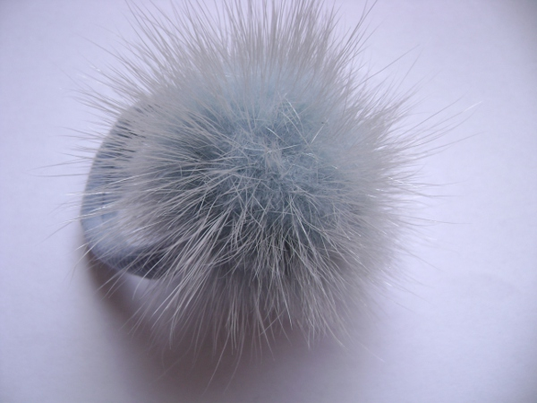 "Hairscrunchy with mink ball "" light blue with grey tips """