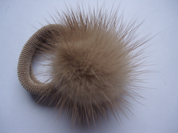 "Hairscrunchy with mink pompon "" sand coloured """
