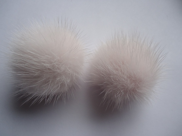 "2 mink  pompoms / mink beads for shoes / shoelaces "" salmonrose"