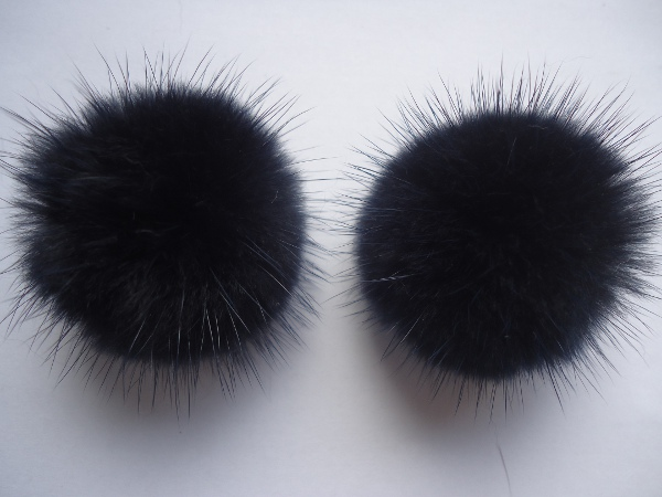 "2 mink  pompoms / mink beads for shoes / shoelaces "" darkblue  """