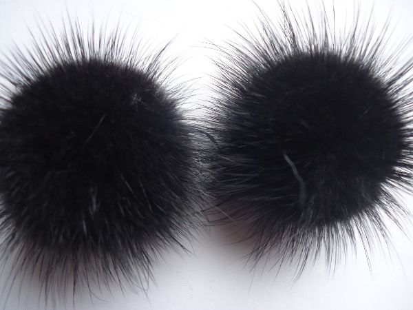 "2 mink  pompoms / mink beads for shoes / shoelaces "" black  """