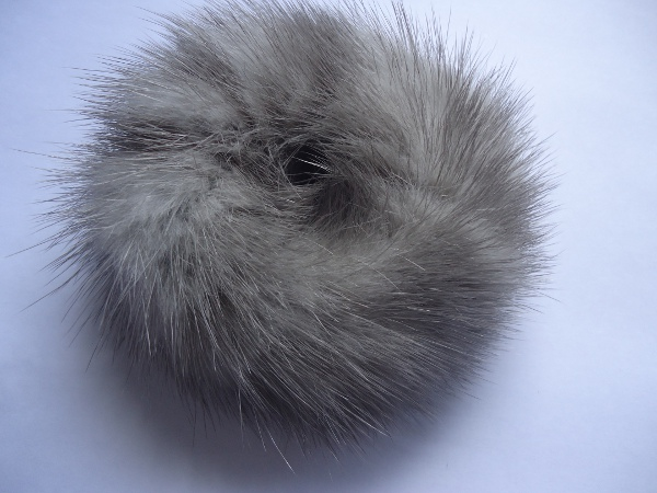 "Mink hair band in grey "" silvergrey """