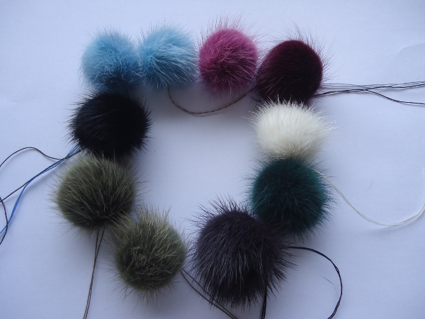 "10 mink  pompoms / mink beads ""colourful mixed """