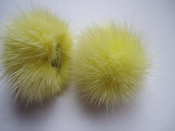 "2 clips with mink pompom for shoes, caps, scarfs "" bright yellow"