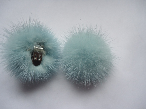 "2 clips with mink pompom for shoes, caps, scarfs "" turquoise """