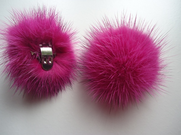 "2 clips with mink pompom for shoes, caps, scarfs "" pink """