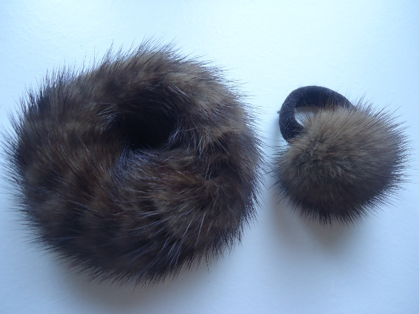 2 x mink hair accessories made of real mink / 1x hair band  1x b