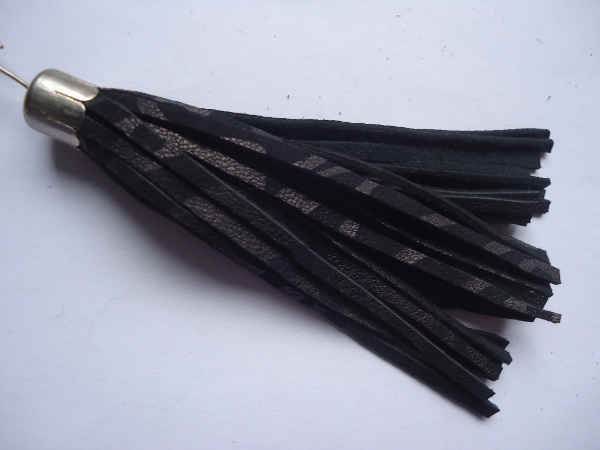 "Leather tassel made ​​of real Leather "" black emboss"