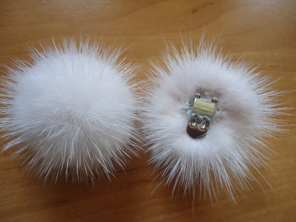 "2 clips with mink pompom for shoes, caps, scarfs "" salmonrose """